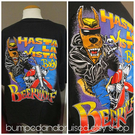 "Vintage Coors Light Beerwolf t shirt "" Hasta La Vista ... Baby "" Terminator biker 1991 XL collectable Check out this item in my Etsy shop https://www.etsy.com/ca/listing/555097350/vintage-coors-light-beerwolf-t-shirt"