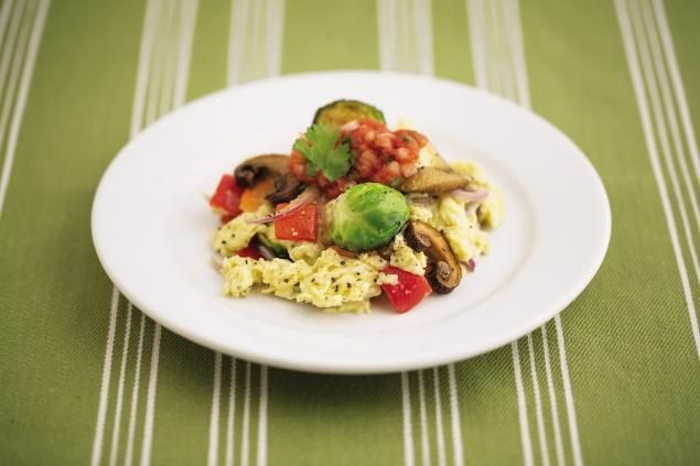 A vegetable-and-egg scramble; omega-3 eggs are on the diet's shopping list.