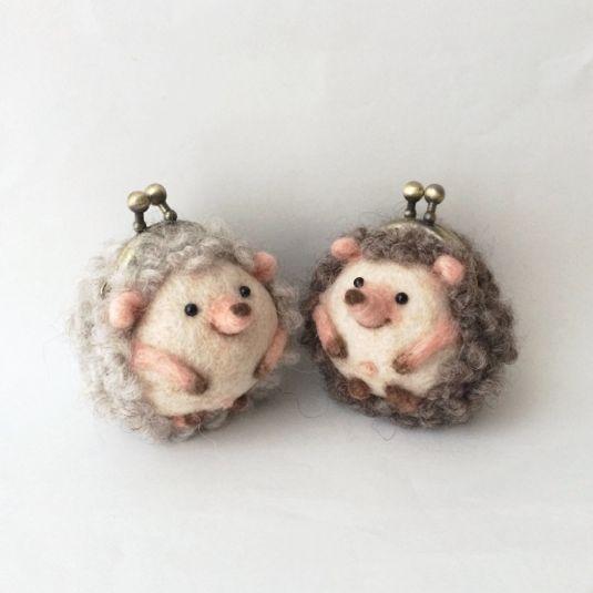 minne(ミンネ)  ハリネズミまめぐち hedgehog purses