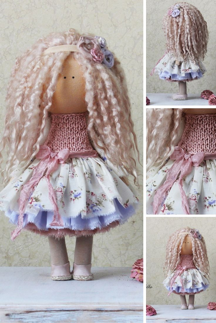 Handmade doll Tilda doll Rag doll Art doll blonde curly pink colors soft doll…