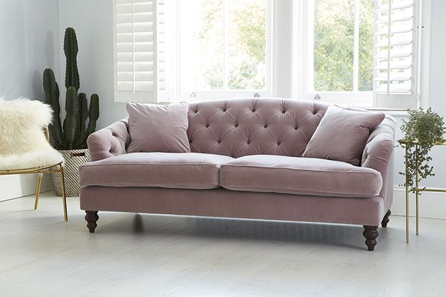 blush pink velvet button back sofa from darlings of chelsea