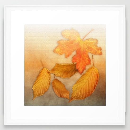 Autumn leaves in yellow and orange Framed Art Print