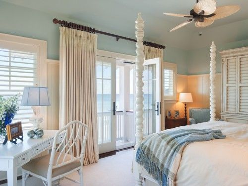 Beach master bedrom - perfect with the high beadboard and white poster bed... just what you do with that pencil post you got when you first got married!