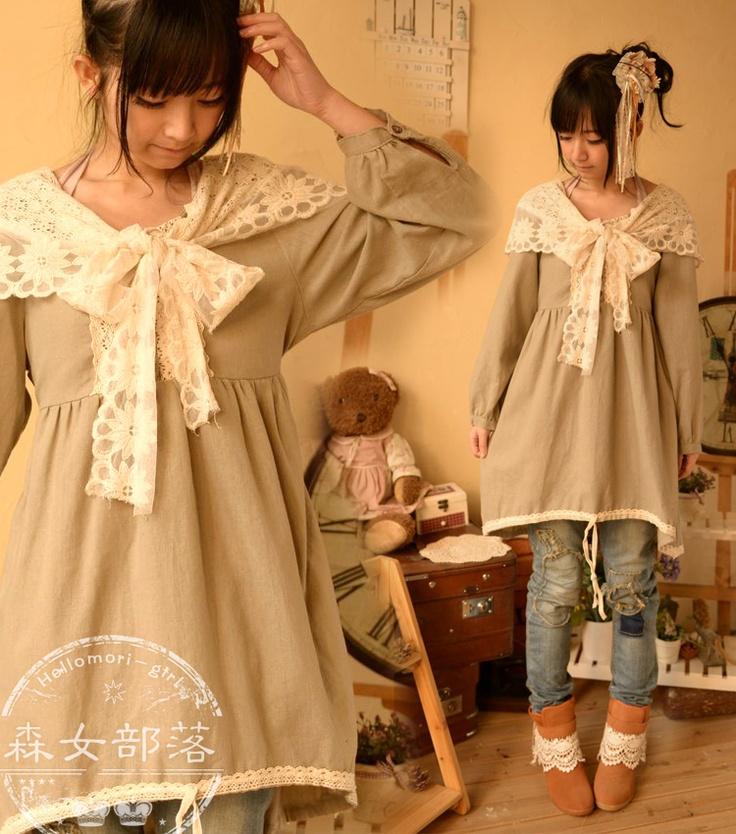 森女部落新款2013春季新款蕾丝披肩拼接棉麻系复古原创长袖连衣裙-淘宝网