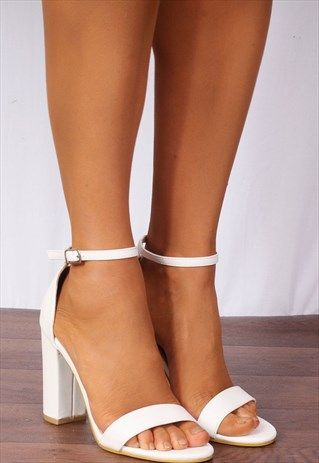 3f0fc7008027 WHITE BARELY THERE ANKLE STRAP STRAPPY SANDALS HIGH HEELS