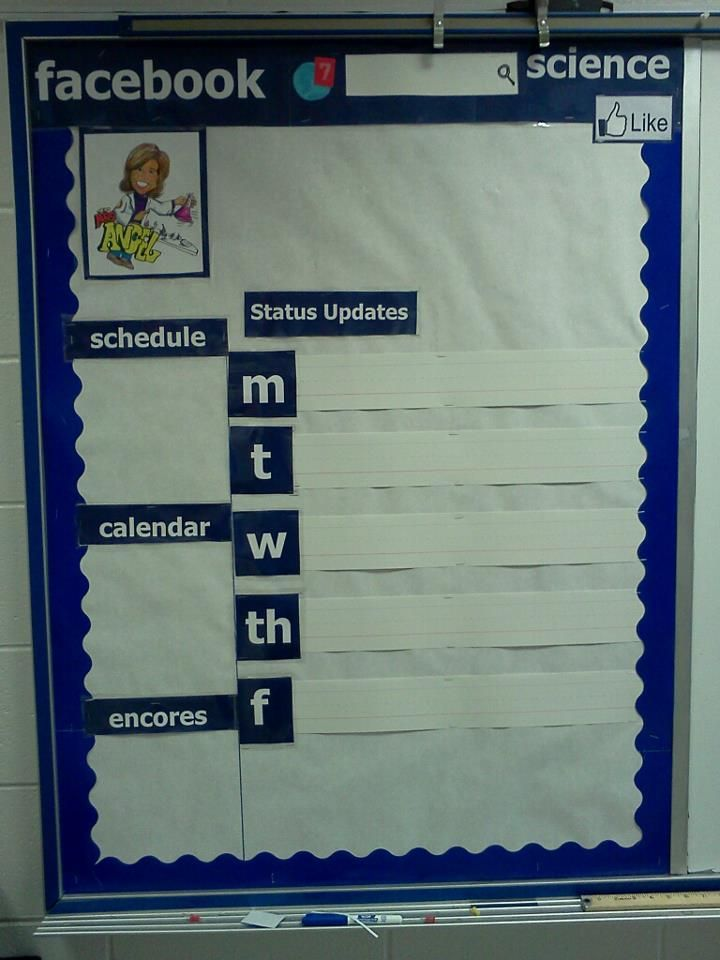 My facebook bulletin board attempt. Used whiteboard strips for the day of the week homework updates.