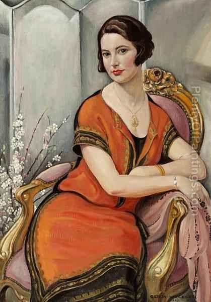 A Portrait Of Ingeborg Minni Helvard  by Gerda Wegener (1886-1940), Danish/lived in Paris (plentyofpaintings)