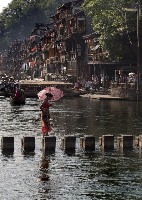 Crossing the river in Fenghuang, China