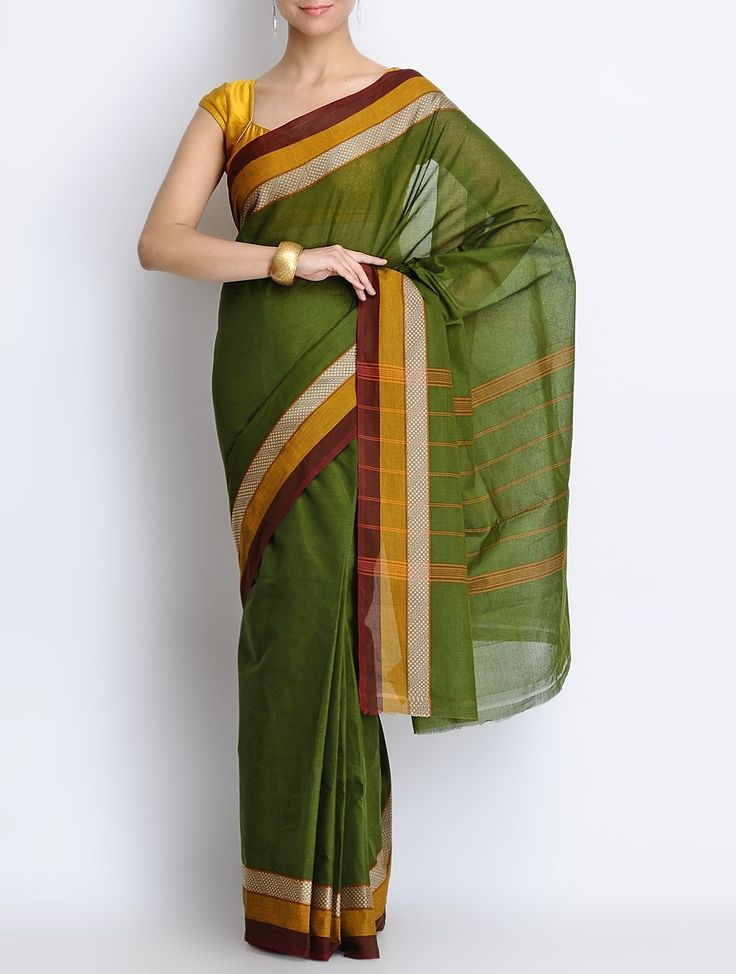 Buy Green Maroon Cotton Chettinad Handwoven Saree Sarees Woven Southern Drapes from South India Online at Jaypore.com