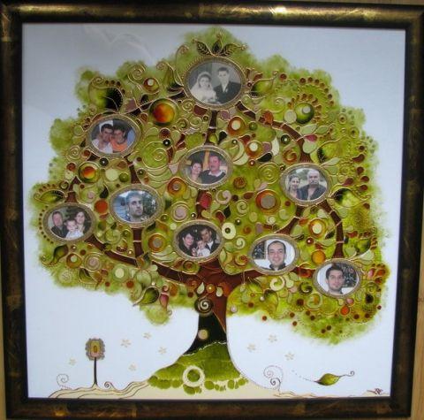 Családfa - üvegfestménybe komponált exkluzív üvegfestmény www.asterglass.hu Burján Eszter 'Aster' üvegfestő művész