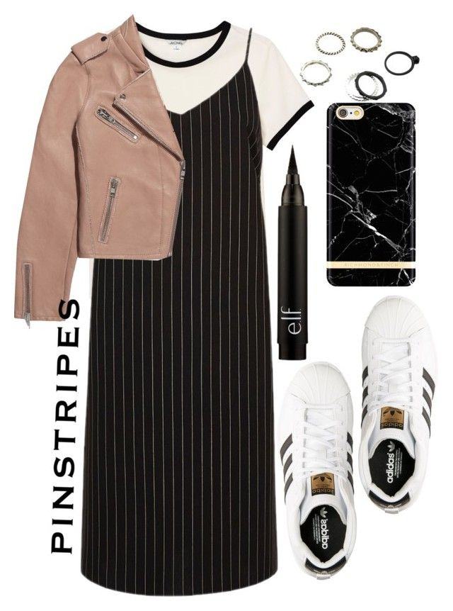 """""""Perfect Pinstripes"""" by ohlizzy ❤ liked on Polyvore featuring adidas, Monki, River Island, Maje, Richmond & Finch, contest, contestentry and pinstripes"""