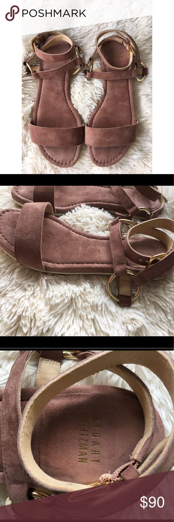 Stuart Weitzman Ringo suede sandals Gorgeous pair of sandals by Stuart Weitzman. Taupe suede with gold hardware accents and rubber soles. The strap wraps around ankle & buckles. These are in excellent condition. Only worn a couple times. Size 7. Stuart Weitzman Shoes Heels