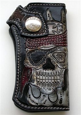 Pirate Skull Genuine Leather Chopper Wallet. Carved pirate and chopper cross men's wallet