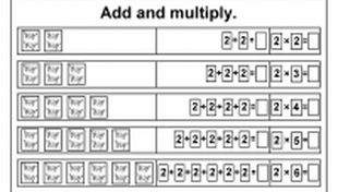 Beginner Multiplication- 2,5,6,7,8 & 9 - Add and Multiply- Repeated Addition - Six Worksheets
