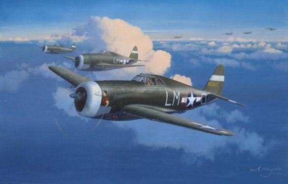 P-47 Thunderbolt originele luchtvaart kunst door SteveHeyenAviation