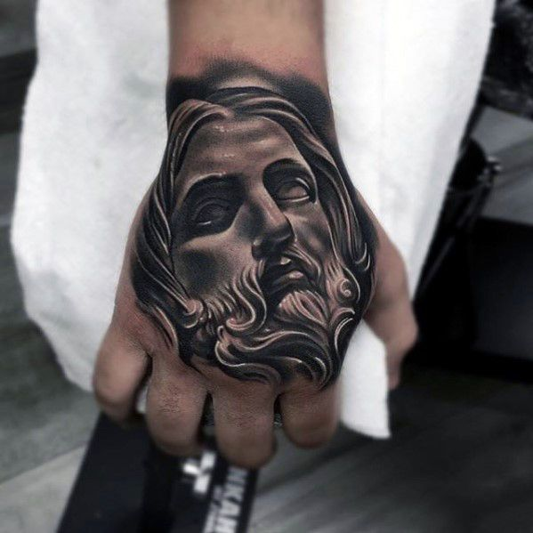 #TATTED Pinterest - @houstonsoho | 20 Jesus Hand Tattoo Designs For Men from #HAND #IDEA @nextluxury