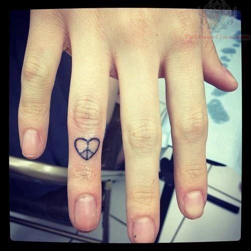 Heart Peace Tattoo On finger