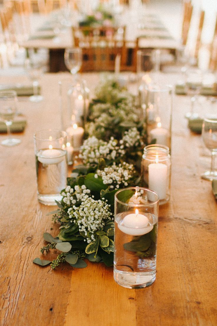 GM: neat idea for centrepiece of a rectangle table - candles and baby's  breath/greenery KD - REALLY like this one - simple - lots of green with a  bit of ...