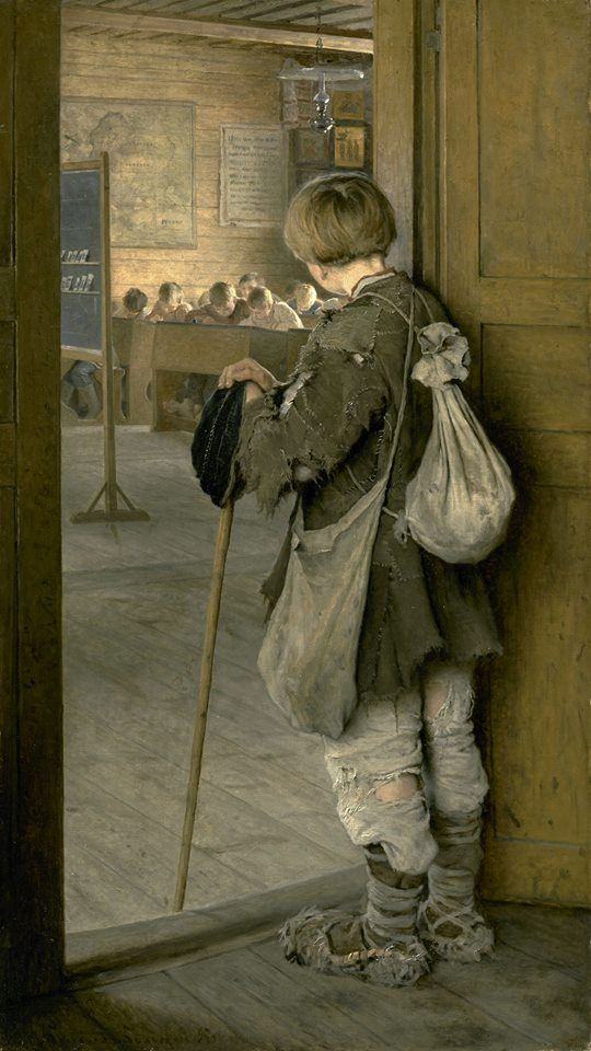 Nikolay Petrovich Bogdanov-Belsky (Russian painter) 1868 - 1945 У дверей школы (At the Door of the School), 1897 oil on canvas The State Russian Museum, St. Petersburg, Russia