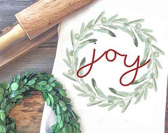 Christmas Tea towel - Joy Tea Towel - Christmas Stockings - Christmas Day Tea Towel - Gifts for Wife - Christmas Gifts for her