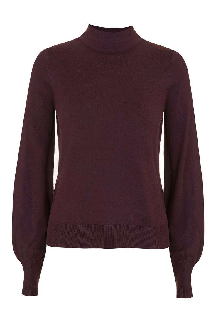 Blouson Sleeve Funnel Neck Jumper - Knitwear - Clothing - Topshop