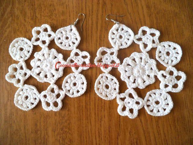 Orecchini leggerissimi realizzati a uncinetto ☺ per informazioni ⇩ http://coccinellecreative.blogspot.it/2013/11/orecchini-uncinetto-realizzati.html