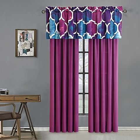 Reinvigorate your space with the vibrant watercolor print of the Emmi Window Valance. Decked out in a large-scale trellis pattern in bold blue, purple, and white hues, this valance captivates with its lively and modern style.