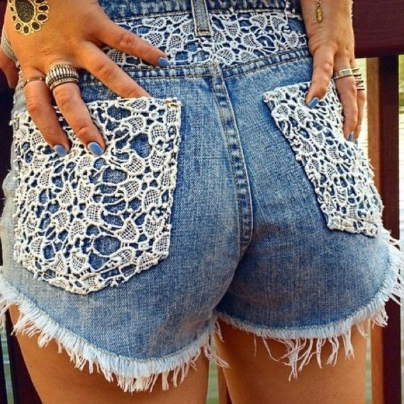 Cute Carmar Lace Pocket Shorts Adorable light blue denim shorts with lace patches on the back pockets. Even cuter in person!! Mid-waisted. True to size. Originally $178! LF Shorts Jean Shorts
