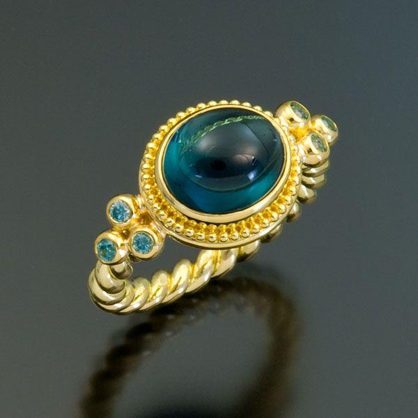 granulation 22kt gold tourmaline zircon ring