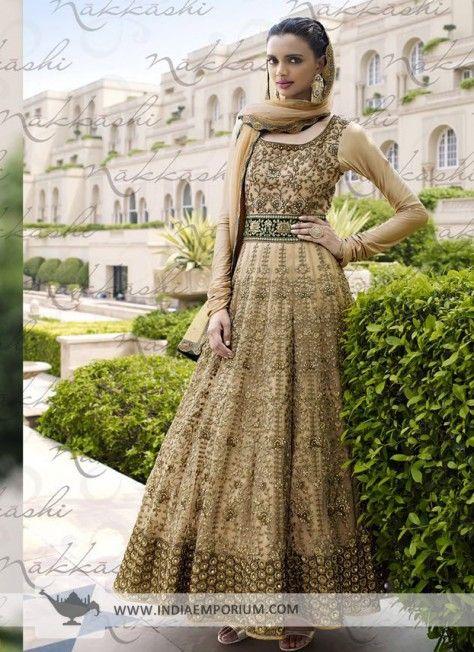 Fashionable Beige Net Anarkali Suit