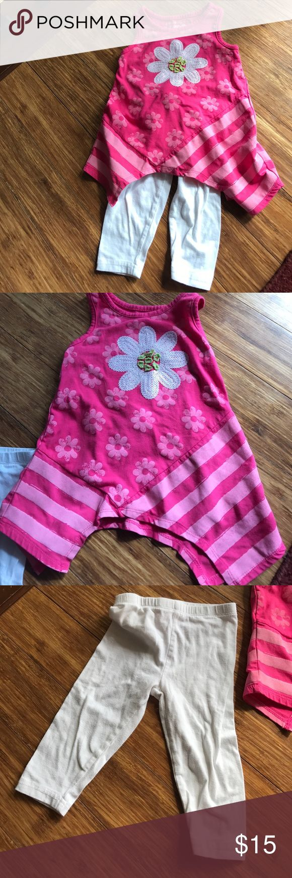 Racerback Tunic with White Leggings This adorable pink tunic and white capris outfit from Flapdoodles is comfortable and perfect for the little girl in your life! The sequined flower adds to the outfit. Only worn twice, so like new. Flapdoodles Matching Sets