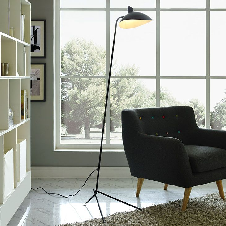 View floor lamp in black careen modernism diligently forward with the view lighting series fashioned