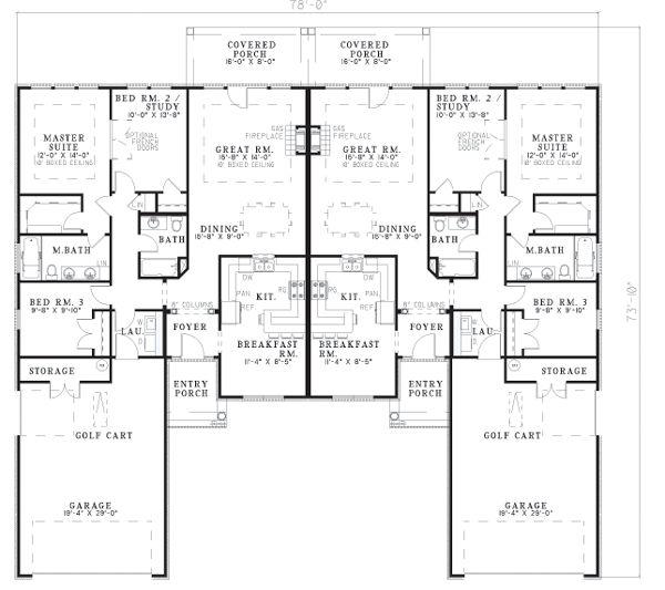 Multi Family Plan 62358 Level One Duplex Floor Plans