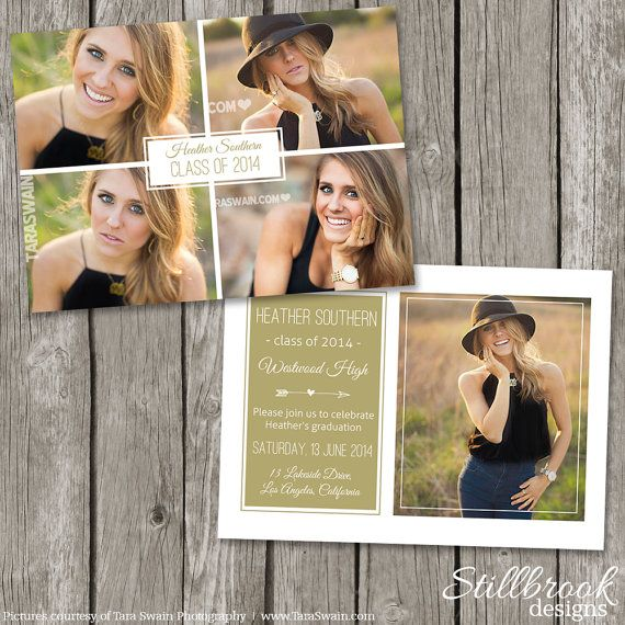 Senior Announcement Template Graduaton Card - High School Senior Graduation Photo Invitation Card - College Grad Photoshop Template
