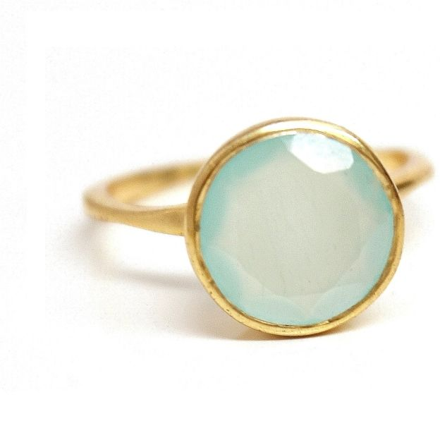 Aqua Chalcedony Round Gemstone Ring