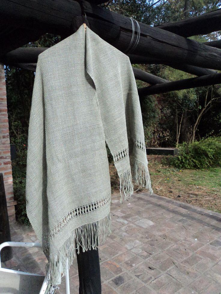 Pashmina de hilo de algodón y seda color verde seco