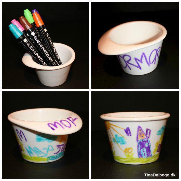 Tegn på porcelængsskåle med porcelænstuscher. Gode gaveideer som børn kan lave. Køb hobbyprodukter i kreahobshop.dk