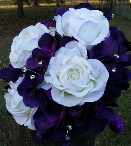 Purple hydrangea with white roses with diamonte