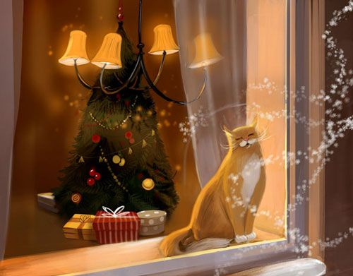 December cat by Veronica Kalacheva