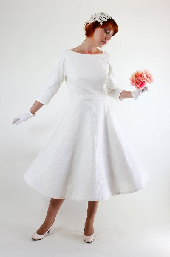 Handmade 50s vintage style ivory cotton tea length wedding for Etsy tea length wedding dress