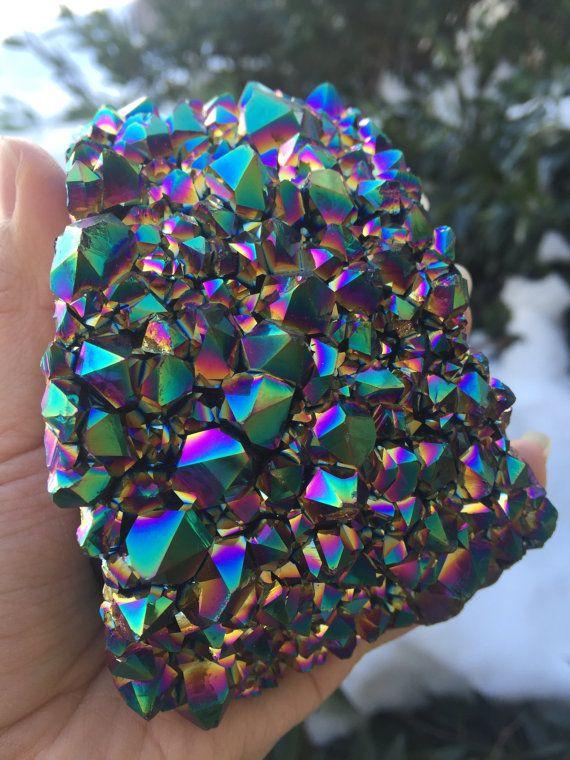 Rainbow Aura Amethyst Cluster Amethyst cluster flame by GemGemRock #gemgemrock