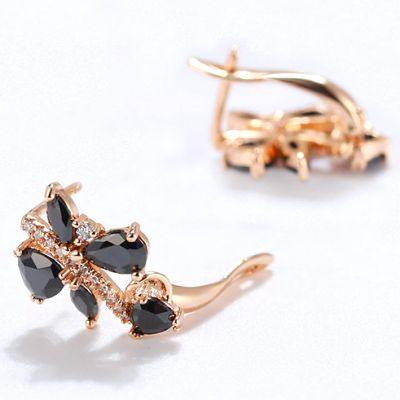 3.24 Carat Fancy Black Diamond Earrings Craft In 14k Rose Gold