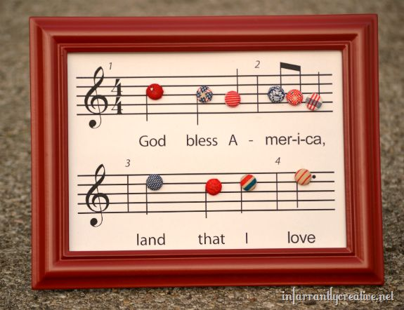 Free music chart printable of God Bless America with fabric covered buttons