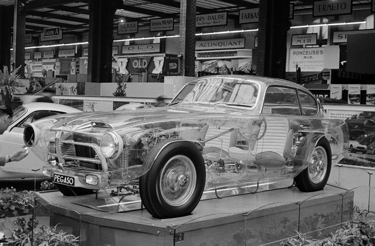 Pegaso Z-102 Berlinetta (Series II) by Carrozzeria Touring - Plexiglass bodywork/chassis revealing mechanical details - Paris Motor Show (October, 1954) - Photographer: Rudolfo Mailander