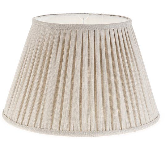 Plain Gathered Bedwyn Lampshade  Gathered cotton lampshade in Fermoie Plain cotton in taupe. Suitable for both lamp bases and ceiling fixing.