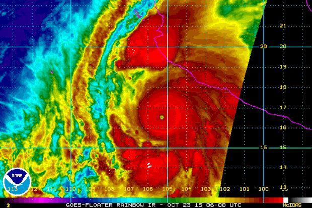 """PUERTO VALLARTA, Mexico — Hurricane Patricia barreled toward southwestern Mexico Friday as a monster Category 5 storm, the strongest ever in the Western Hemisphere. Residents and tourists were hunkering down or trying to make last-minute escapes ahead of what forecasters called a """"potentially catastrophic landfall"""" later in the day."""