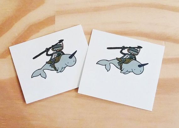Nothing cooler than a robot riding a narwhal temporary tattoo!