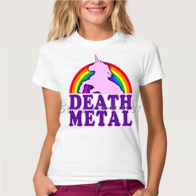 Nuovo Modo di Arrivo Dell'annata Divertente Death Metal Unicorn Stampato T-Shirt Donne di Estate Manica Corta Tee Shirt Top Femme