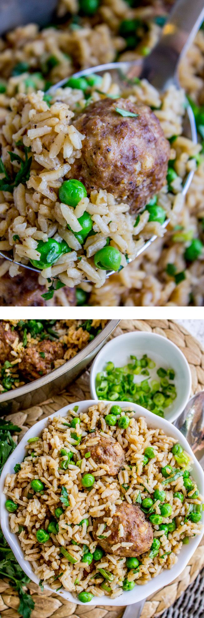 One Skillet Beef Meatballs with Rice and Peas recipe from The Food Charlatan. Say hello to your new favorite 30-minute-meal! This easy one-pot dish is great for nights when you forget about dinner until everyone is starving. The meatballs make it nice and hearty. Use store bought meatballs to speed things up even more! My kids loved this one!