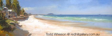 "Todd Whisson, painting ""Alexandra Headlands Surf Club"". Red Hill Gallery, Brisbane. redhillgallery.com.au"